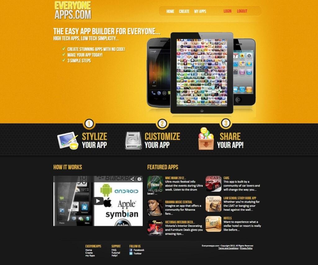 everyoneapps.com App Generator für mobile Apps für iOS und Android