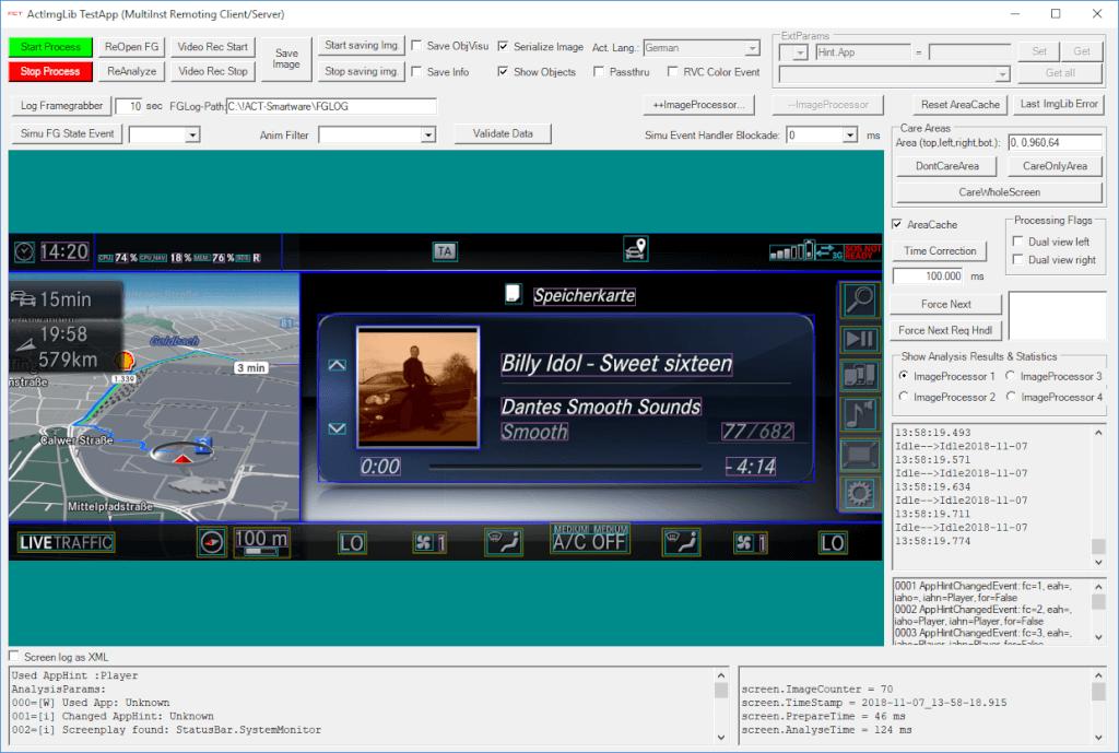 Bildanalyse von grafischen Benutzeroberflächen im Fahrzeug